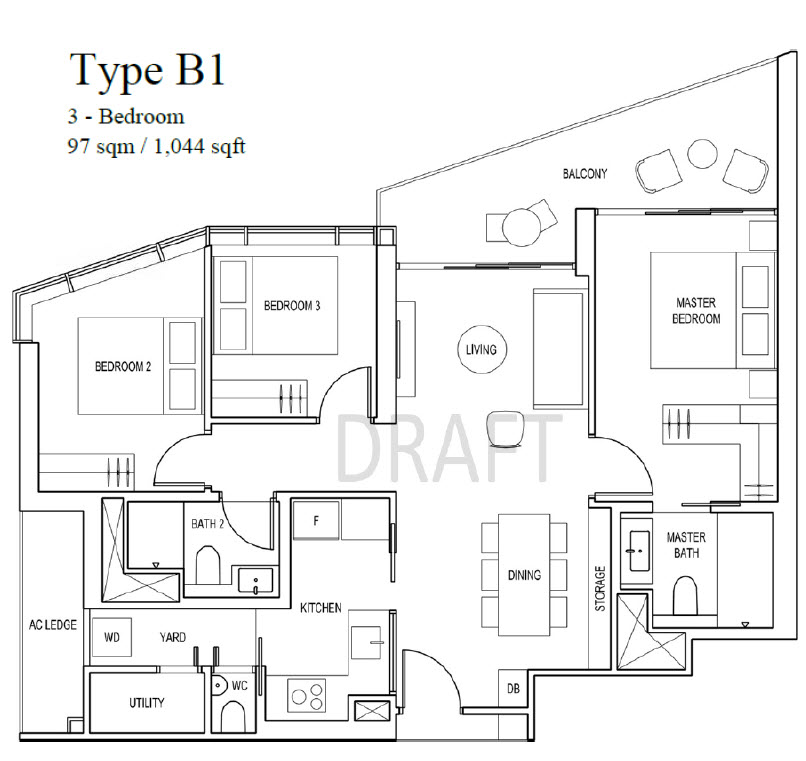 Artra FEC Skyline Pte Ltd 3 Bedroom Floor Plan